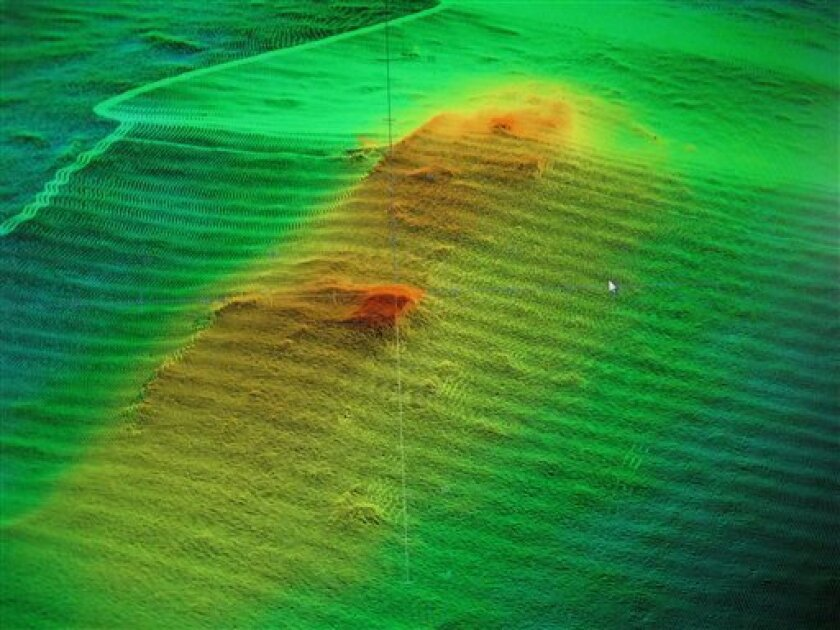 An image of the Civil War ship CSS Florida on the floor of the James River is displayed on a computer screen aboard a federal research ship on Monday, June 27, 2011 in Norfolk, Va.. The image was gathered using sonar and will eventually be converted into a highly detailed representation of the ship
