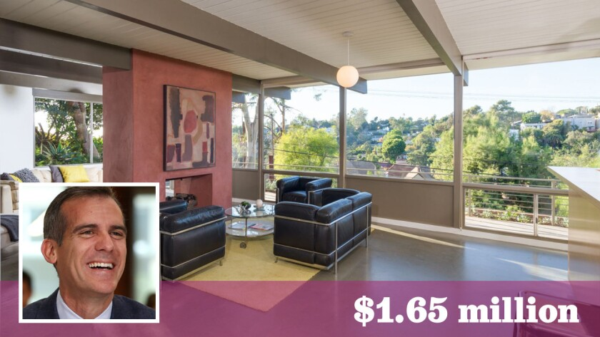 Los Angeles Mayor Eric Garcetti has put an updated post-and-beam-style home in Echo Park on the market for $1.65 million.