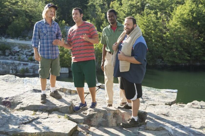 "David Spade, left, Adam Sander, Chris Rock and Kevin James star in ""Grown Ups 2,"" which was No. 2 at the box office this weekend."