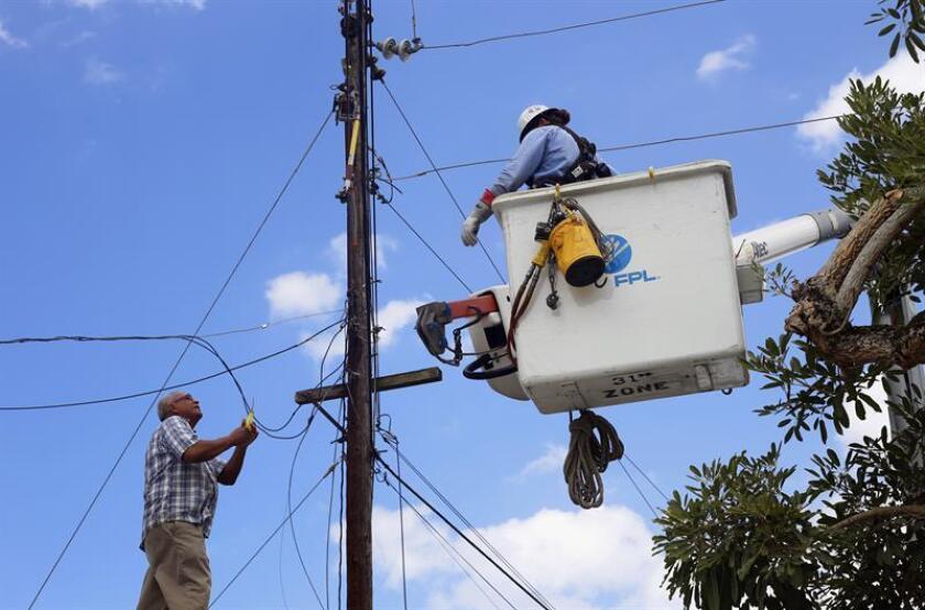Un ciudadano ayuda a un empleado de la empresa Florida Power & Light (FPL), mientras trabaja en un tendido eléctrico, el martes 20 de marzo de 2018, en Dorado, municipio localizado en la costa norte de Puerto Rico. EFE/Archivo