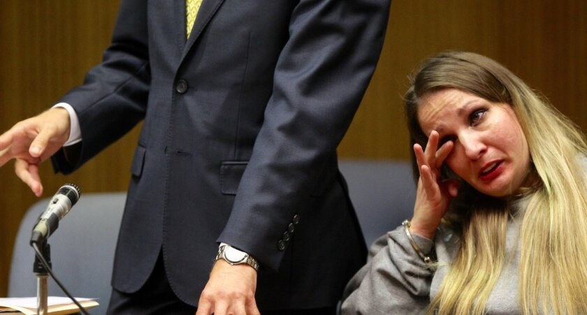 Brandy Teague reacts during her sentencing for vehicular manslaughter while intoxicated. She drove under the influence of drugs and caused a crash in El Cajon that killed her 3-year-old daughter.