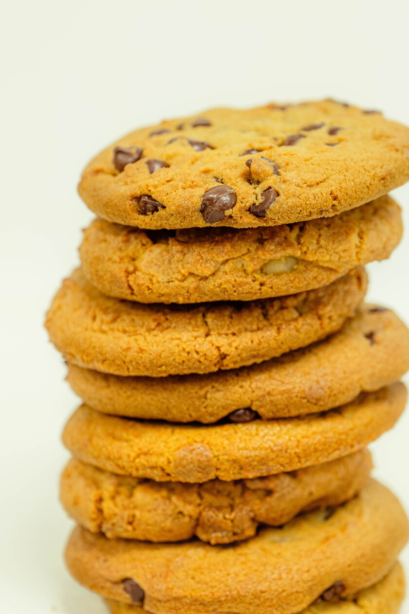 Ingredients for Quarantine Choco-Chip Cookies include almond flour, dark chocolate chips and natural sweeteners.