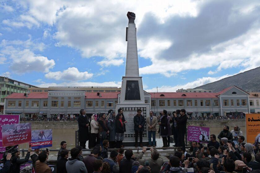 Afghan memorial to slain woman