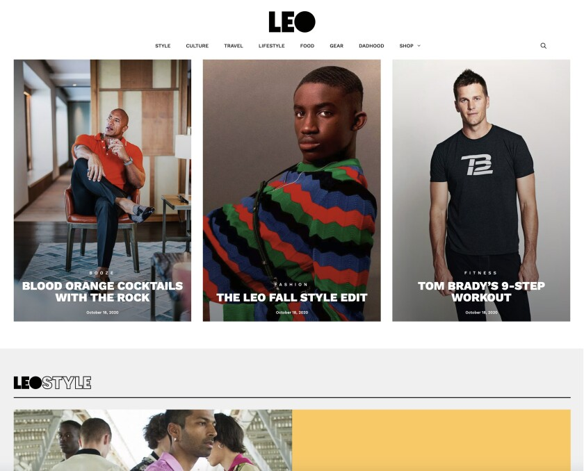 A screenshot of the just-launched men's lifestyle website Leo