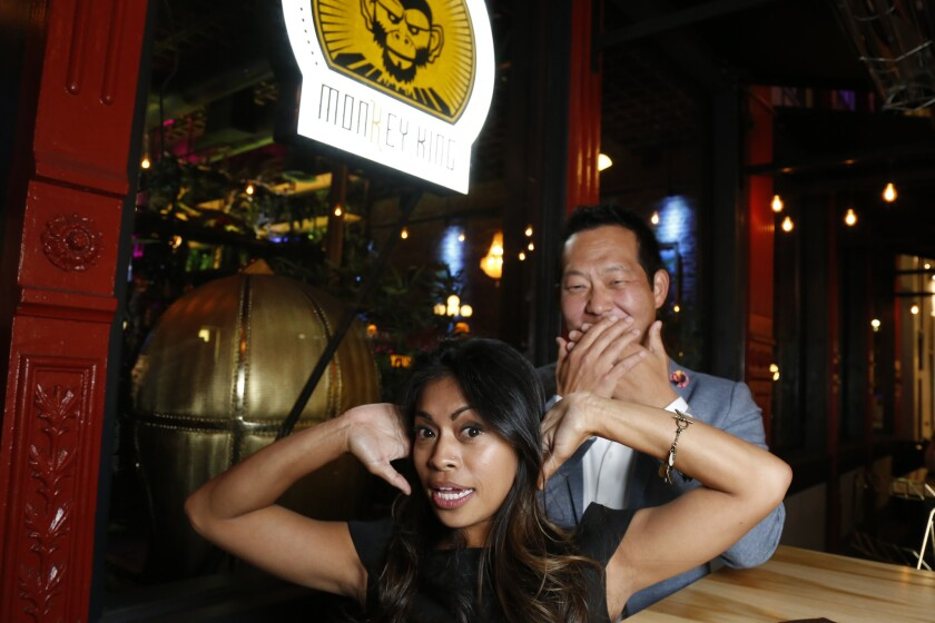Pacific Magazine Blind Daters Jason and Megan began their evening at the Monkey King restaurant in downtown San Diego, enjoying mixed drinks and Chinese food.