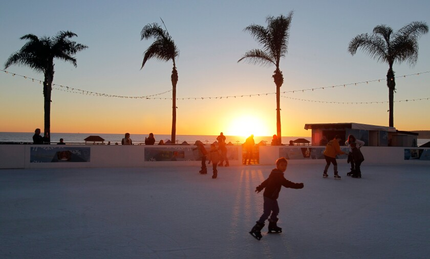A photo of Skating by the Sea ice skating rink at the Hotel del Coronado in Coronado