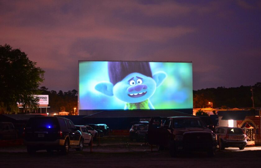 """Trolls World Tour"" at the Ocala Drive-In in Ocala, Florida."