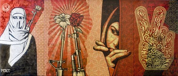 """""""Obey Middle East Mural"""" (2009) is in the Boston Institute of Contemporary Art's exhibition """"Shepard Fairey: Supply and Demand."""""""