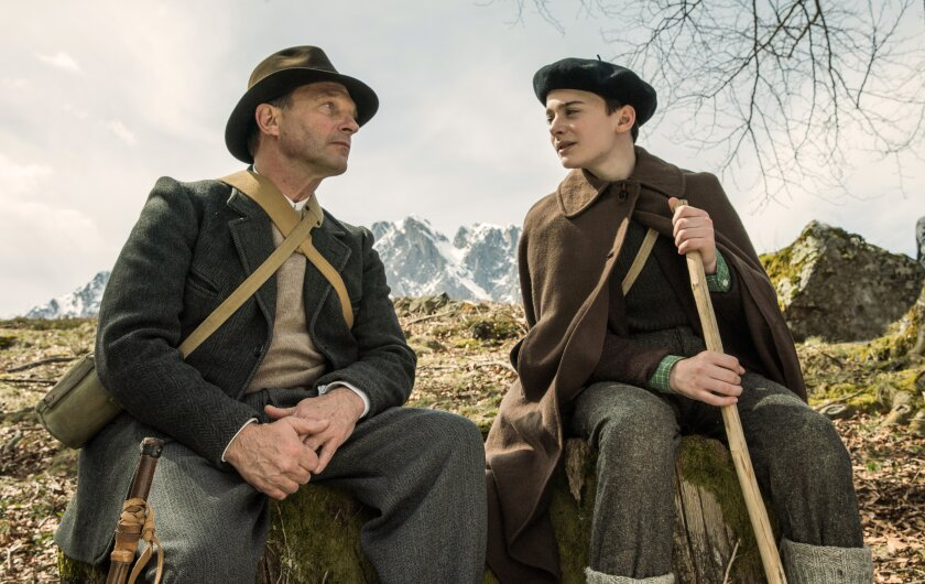 Thomas Kretschmann, left, and Noah Schnapp in the movie 'Waiting for Anya'
