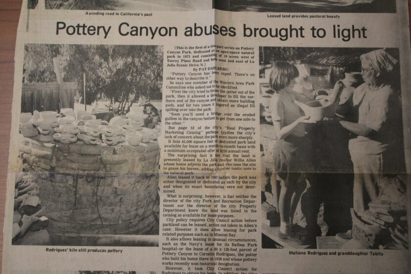 The story 'Pottery Canyon abuses brought to light' by Pat Dahlberg was published in the La Jolla Light on Feb. 10, 1977. Pictures by David Eidenmiller.