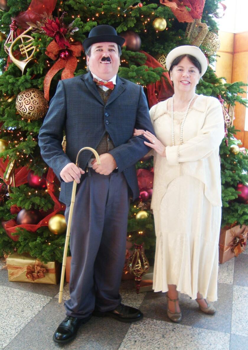 Mike Davis (as Charlie Chaplin) and Susan Casey Davis