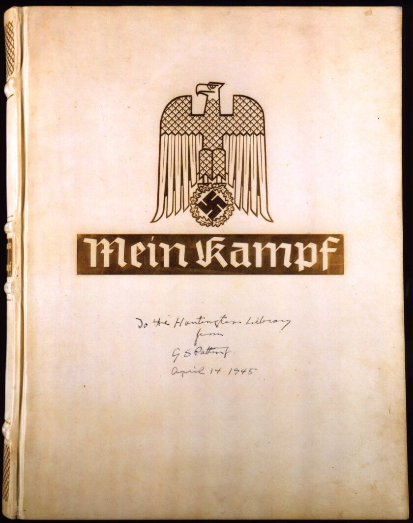 """Adolf Hitler's """"Mein Kampf"""" has become an e-book bestseller. Gen. George Patton donated this copy to the Huntington Library in 1945."""