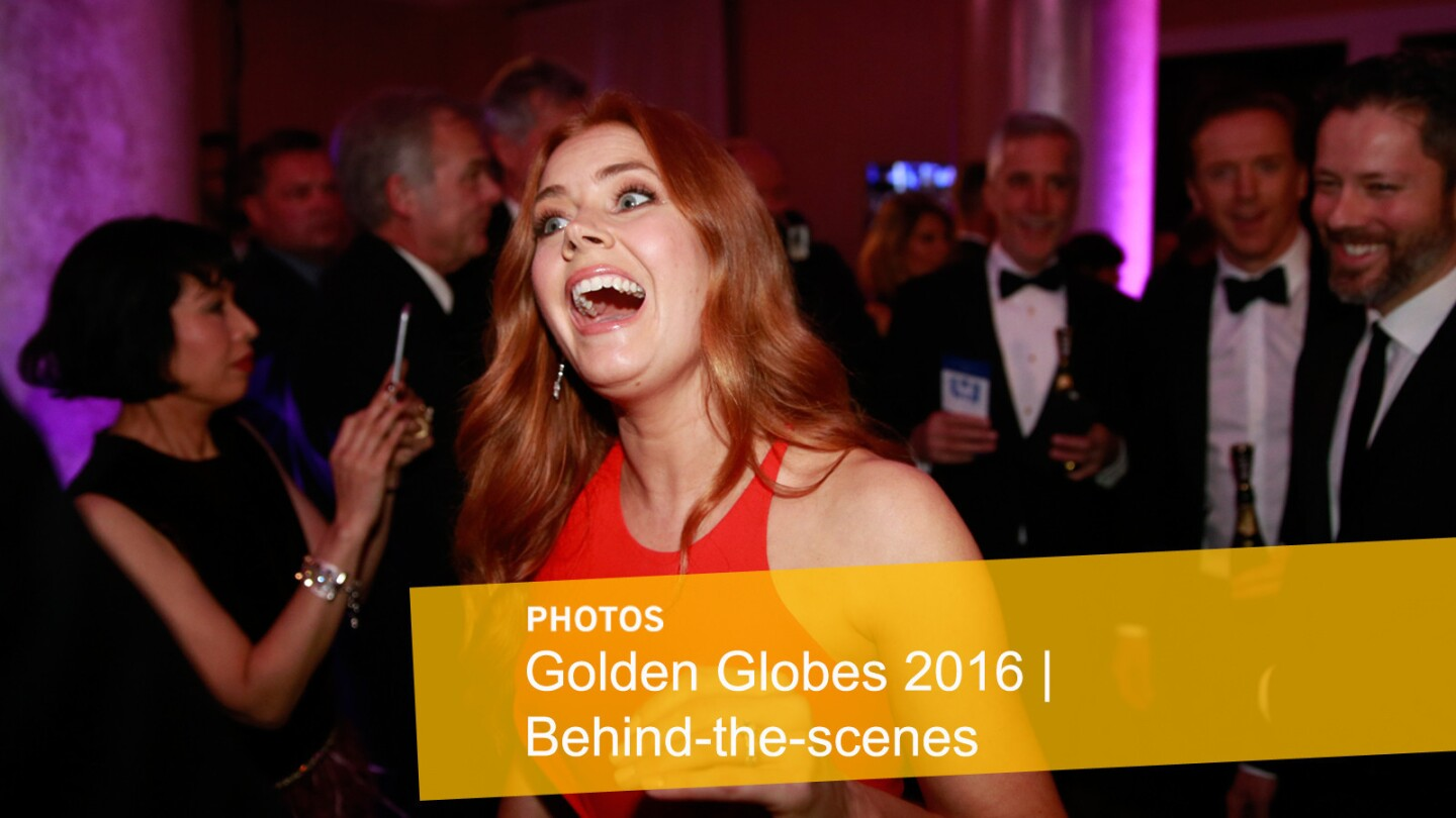 Without question, Amy Adams is enjoying the evening.