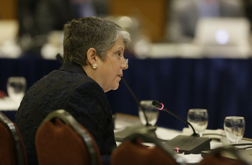 "University of California President Janet Napolitano speaks during a Board of Regents meeting Wednesday, March 23, 2016, in San Francisco. A committee of the University of California's governing board unanimously approved a statement Wednesday that cites anti-Semitism as a form of intolerance that campus leaders have a duty to challenge. The committee of the university's Board of Regents voted to send what is being called a ""Statement of Principles Against Intolerance"" on to the full board for final consideration on Thursday. (AP Photo/Eric Risberg)"
