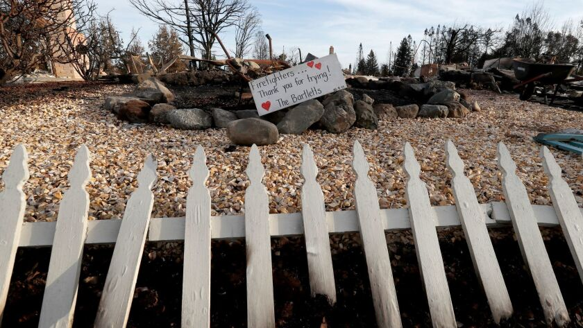 SANTA ROSA, CALIF. - OCT. 20, 2017. A sign thanks firefighters for their effort at a burned home in