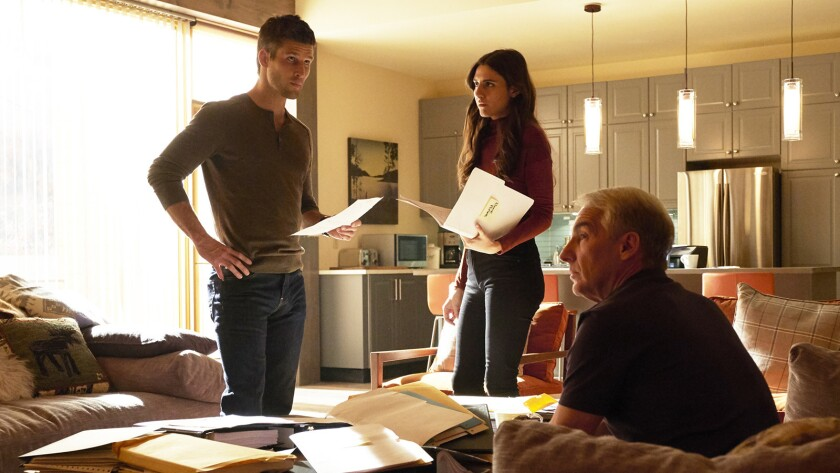 """Parker Young, left, Marianne Rendon and Brian Benben in """"Imposters"""" on Bravo."""