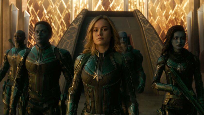 L to R: Korath (Djimon Hounsou), Att-Lass (Algenis Perez Soto), Carol Danvers/Captain Marvel (Brie L