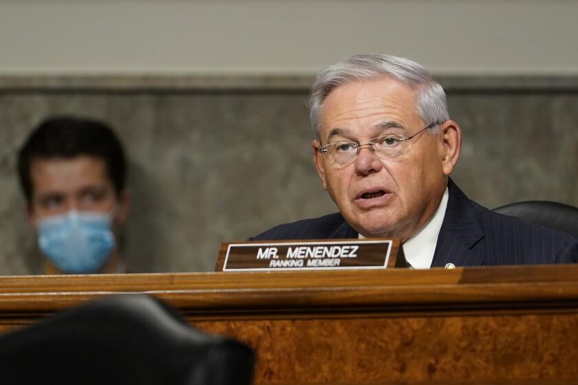 Sen. Robert Menendez is seen speaking at a hearing