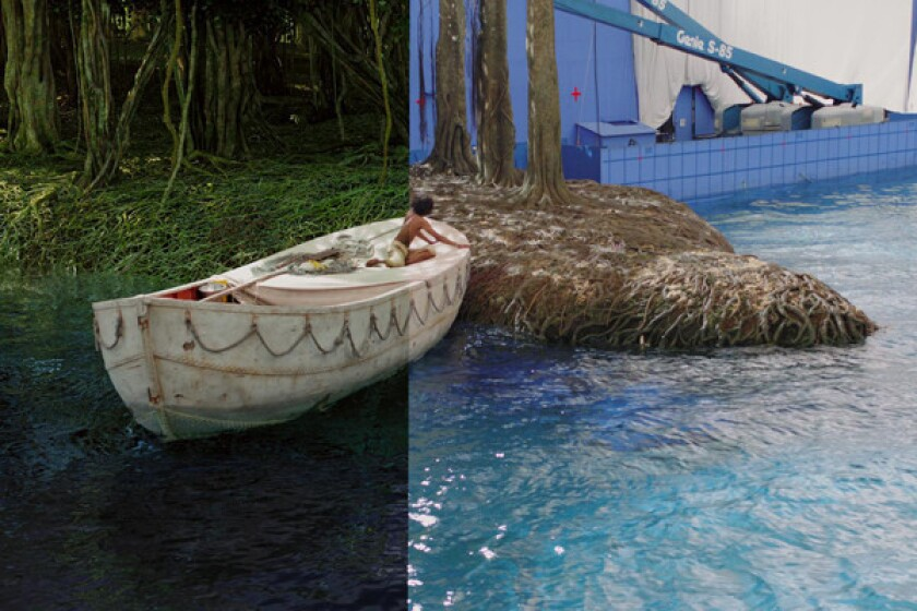 A scene from 'Life of Pi,' after, and before visual effects were applied.