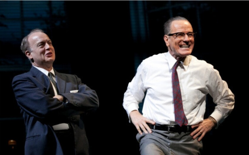 """Bryan Cranston, right, with Reed Birney in the stage play """"All the Way"""" at American Repertory Theatre in Cambridge, Mass."""
