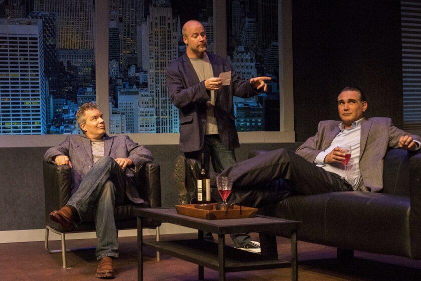 "Jason Heil, Jacob Bruce and Daren Scott (left to right) in Intrepid Theatre's ""Art."""