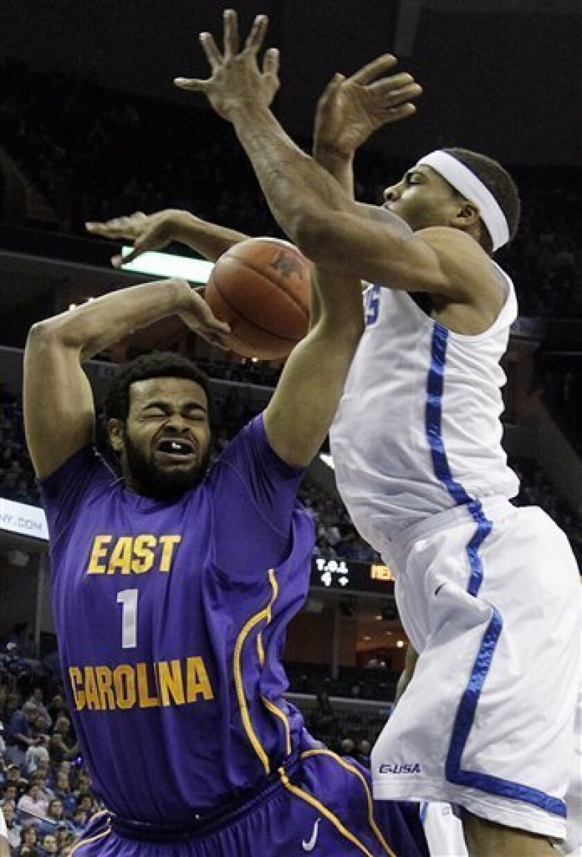 East Carolina forward Darrius Morrow (1) gets fouled by Memphis forward Will Coleman, right, during the first half of an NCAA college basketball game in Memphis, Tenn., Saturday, Jan. 8, 2011. (AP Photo/Lance Murphey)