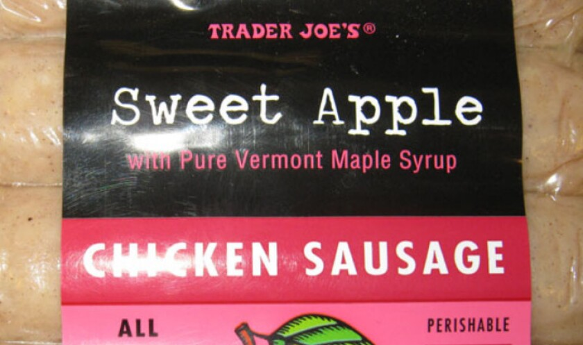 """Kayem Foods is recalling nearly 30 tons of fully cooked chicken sausage products that may be contaminated with pieces of plastic. Some packages of Trader Joe's brand """"Sweet Apple Chicken Sausage"""" are part of the recall."""