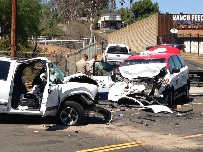 The SUV driver died and three people were injured in a collision with the USA cab van on SR-94 at Marlena Way in Jamul