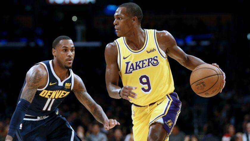 LOS ANGELES, CALIF. -- TUESDAY, OCTOBER 2, 2018: Los Angeles Lakers guard Rajon Rondo (9) is defende