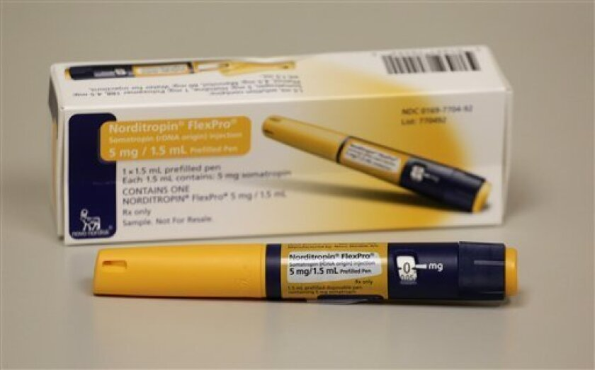 This photo shows an injector pen that contains approximately a weeks worth of human growth hormone doses. (AP File Photo/M. Spencer Green)