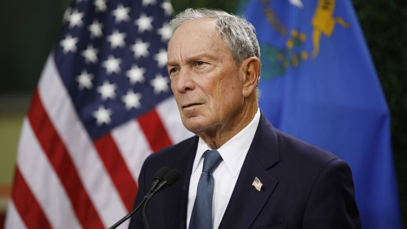 FILE - In this Feb. 26, 2019, file photo, former New York City Mayor Michael Bloomberg speaks at a n