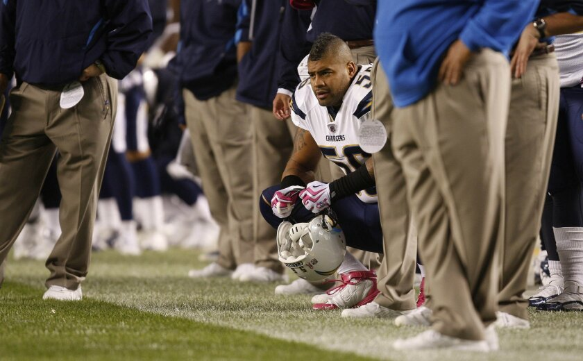 Linebacker Shawne Merriman is among the injured players who could use a bye week to recover.  Sean M. Haffey / Union-Tribune
