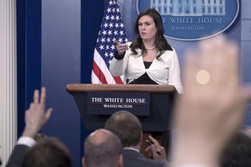 White House Deputy Press Secretary Sarah Huckabee Sanders responds to a question from the news media during the daily press briefing in the Brady Press Briefing Room at the White House in Washington, DC, USA. EFE/EPA/File
