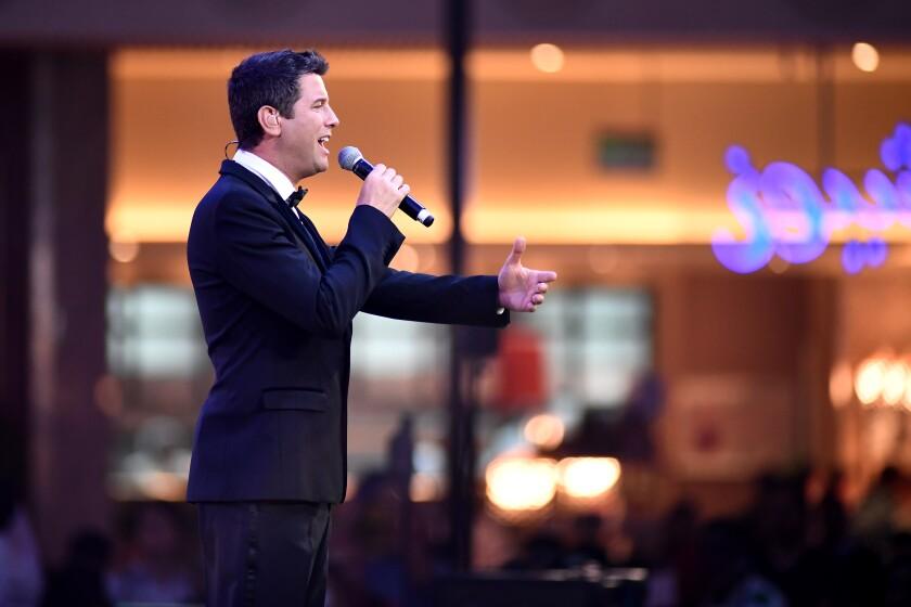 Il Divo tenor Sébastien Izambard performs in Doha, Qatar, on Apil 8, 2017.