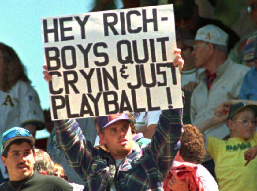 A's fan protests baseball strike