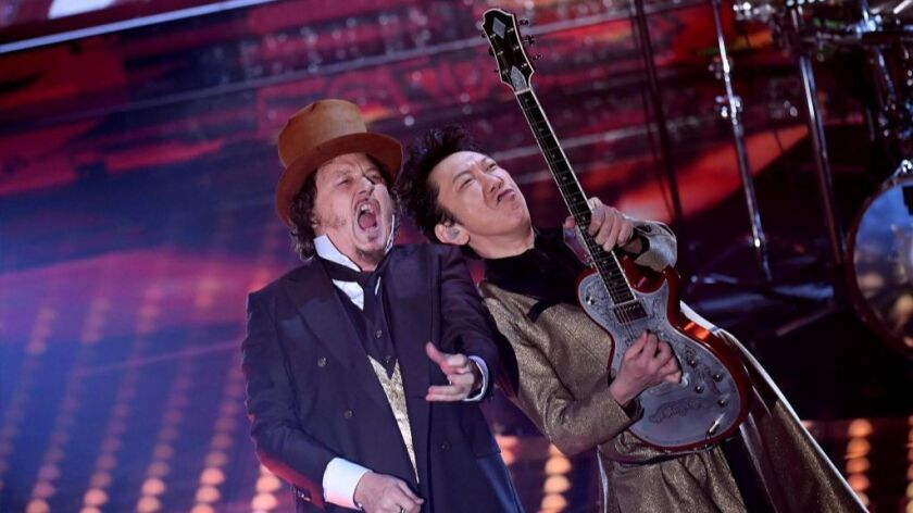 Italian singer Zucchero (left) performs Feb. 11 during the 2017 Sanremo Music Festival 2017 at the Ariston theater in Italy.
