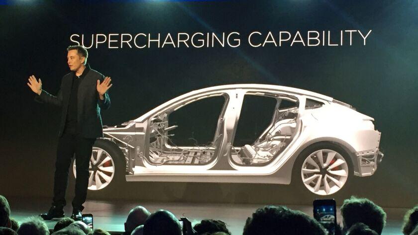 Tesla Motors Inc. CEO Elon Musk speaks at the unveiling of the Model 3 at the Tesla Motors design studio in 2016.