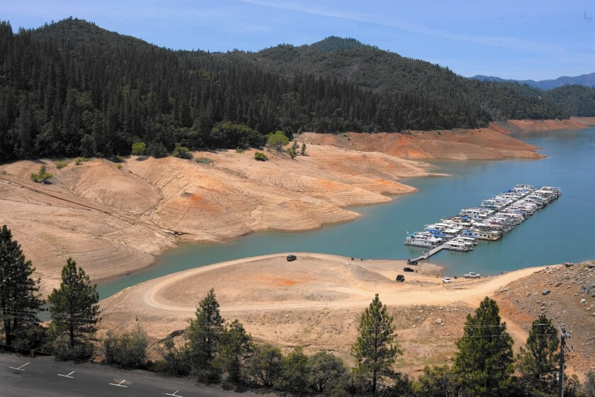 The Bridge Bay Marina at Lake Shasta reflects the severity of California's drought. The state's congressional delegation has been stymied by disagreements over the causes and the role of the federal government in mitigating its consequences.