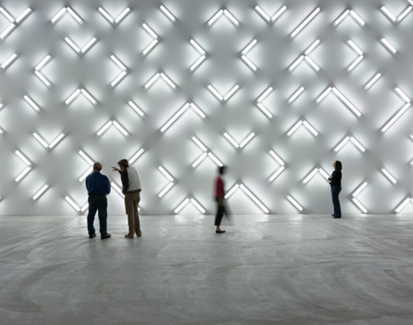 'Light and Space' (2007) by Robert Irwin features 115 fluorescent lights on one wall. It is on view at Museum of Contemporary Art San Diego's downtown San Diego location through Feb 21, 2016.