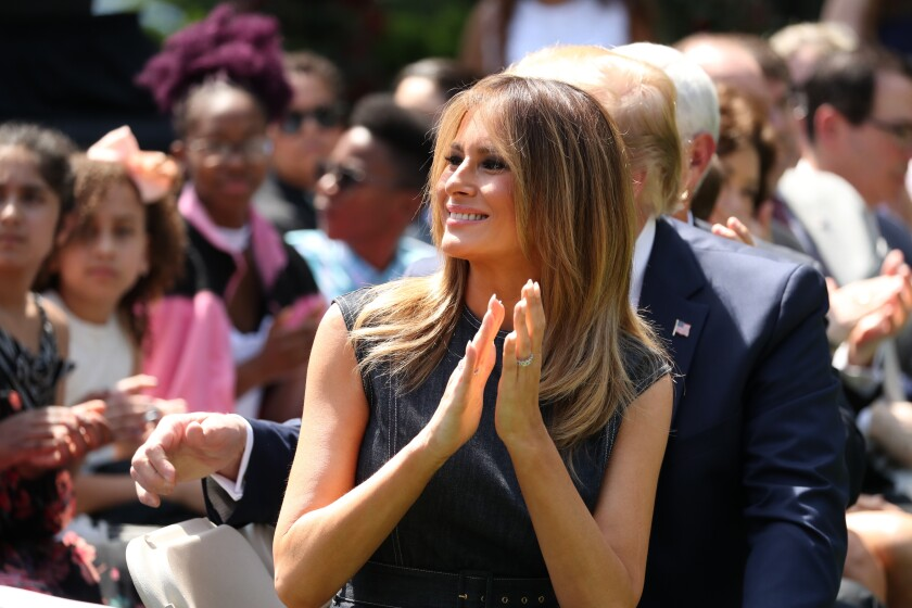 First Lady Melania Trump attends an event in the White House Rose Garden in May 2019.