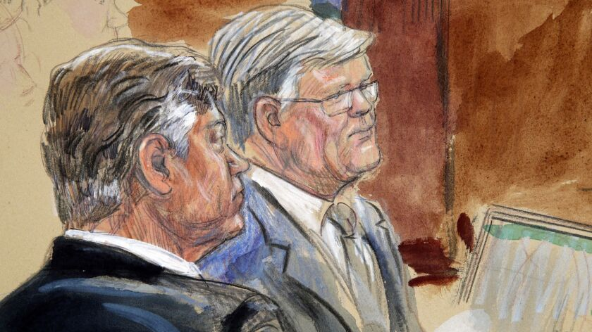 Former Trump campaign Chairman Paul Manafort, left, and his lawyer Kevin Downing are depicted in this courtroom sketch listening to testimony from government witness Richard Gates on Aug. 7.