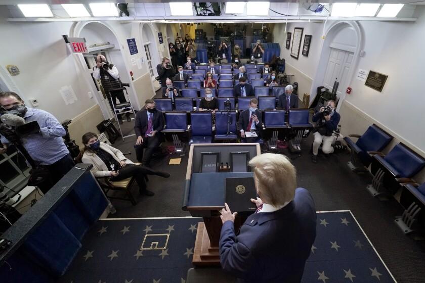 President Donald Trump arrives to speak at the White House, Thursday, Nov. 5, 2020, in Washington. (AP Photo/Evan Vucci)