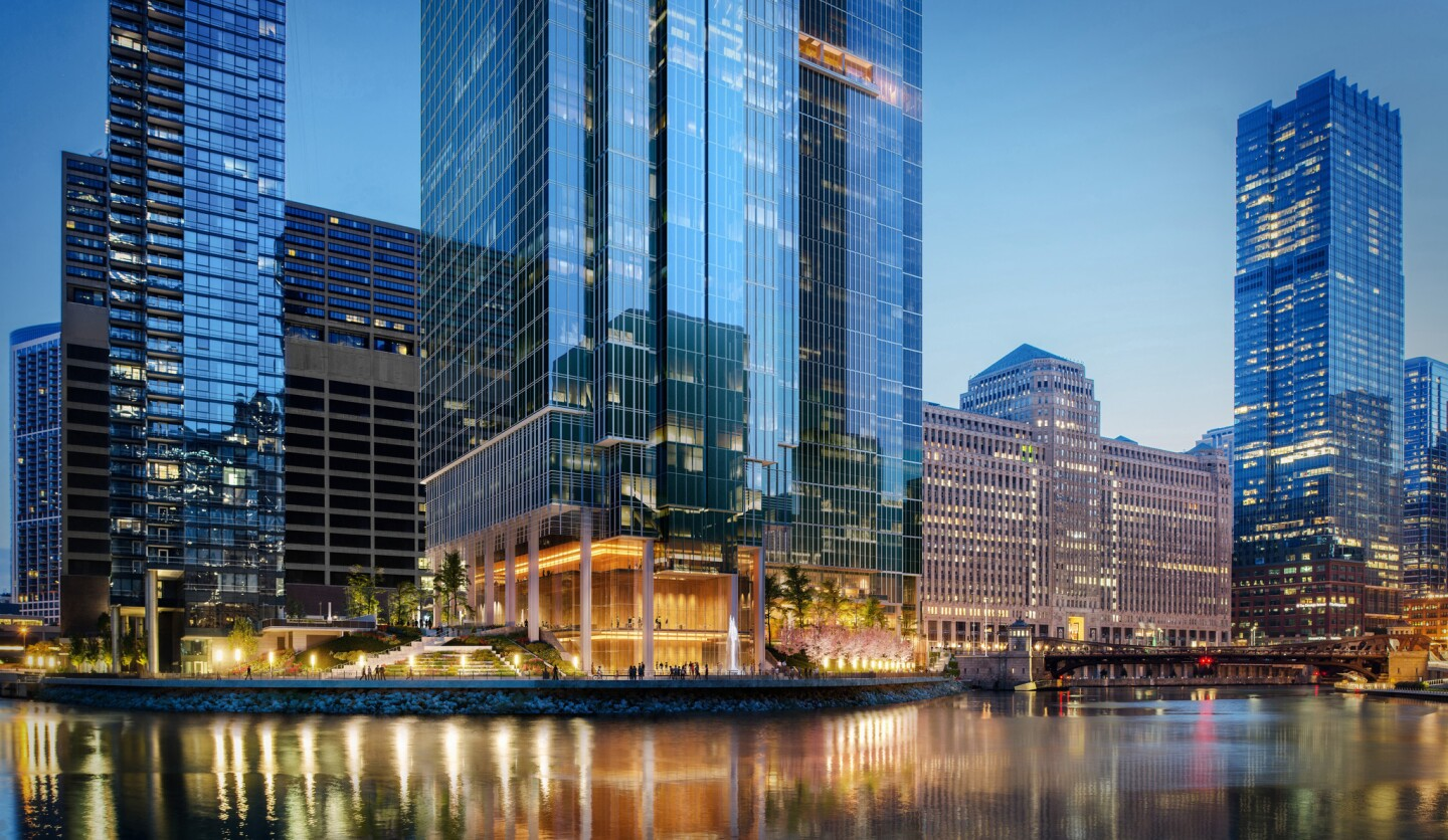 The 60-story Salesforce Tower Chicago is planned to be thethird and final tower in the Wolf Point development on the north side of the Chicago River near the Merchandise Mart.The San Francisco-based software firm has leased about 500,000 square feet in the building.