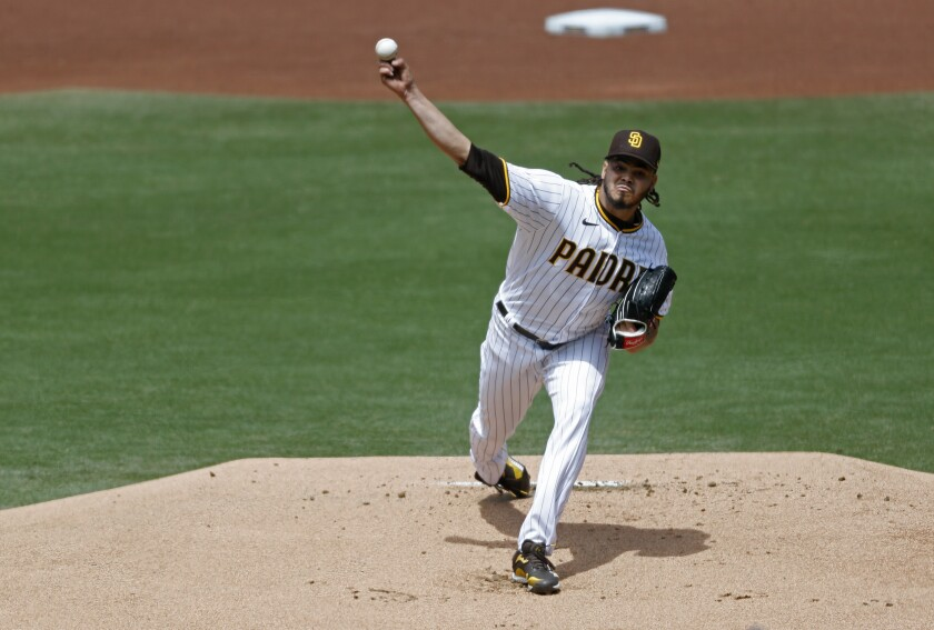 Padres pitcher Dinelson Lamet throws against the Milwaukee Brewers at Petco Park on Wednesday.