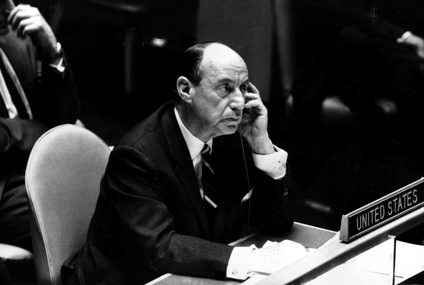 My grandfather cried when Dwight Eisenhower beat Adlai Stevenson. Above, Stevenson as U.S. ambassador to the United Nations in 1965.