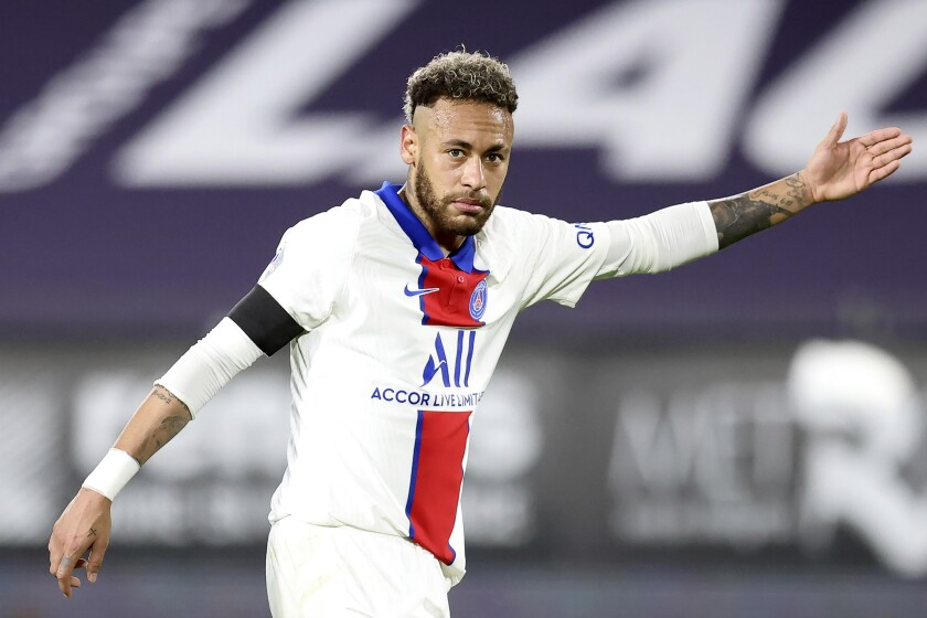 PSG's Neymar reacts during a French League One Soccer match between Rennes and PSG at the Roazhon Park stadium in Rennes, France, Sunday, May 9, 2021. (AP Photo/David Vincent)