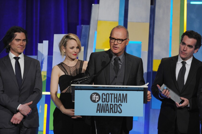 """From left, Billy Crudup, Rachel McAdams, Michael Keaton and Brian d'Arcy James accept the best feature award for """"Spolight."""""""