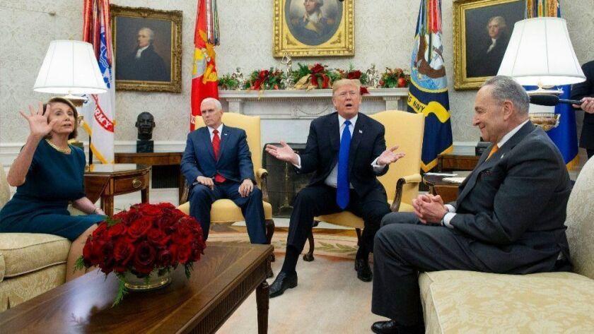 US President Donald J. Trump meets with US House Speaker-designate Nancy Pelosi and US Senate Minority Leader Chuck Schumer, Washington, USA - 11 Dec 2018