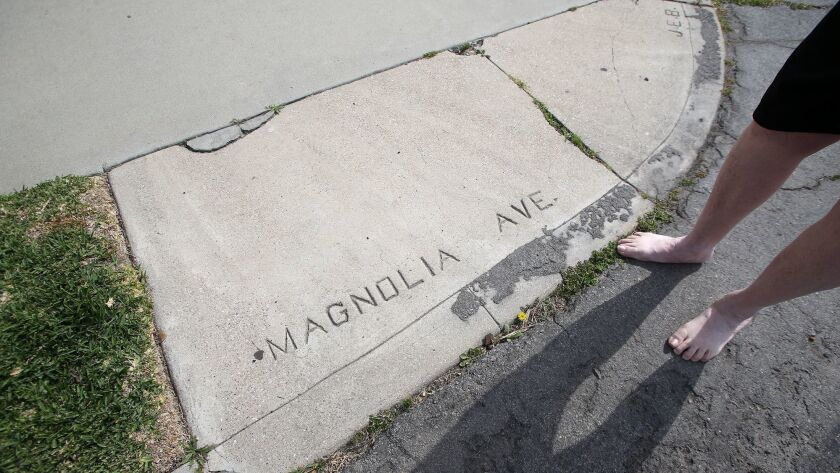 An embossed stamp shows Magnolia Ave, even though its Pecan today, is shown in Huntington Beach. Loc
