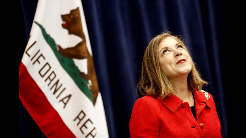 U.S. Rep. Loretta Sanchez (D-Santa Ana) speaks during a news conference at the California Democratic convention in Anaheim on Sunday.